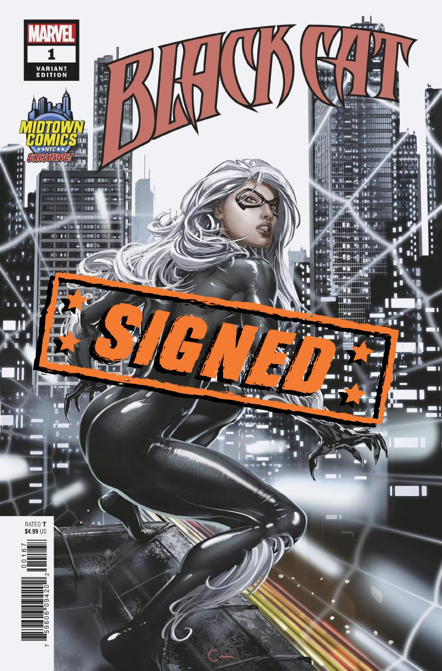 Black Cat #1  Midtown Exclusive Clayton Crain Variant Cover Signed By Clayton Crain