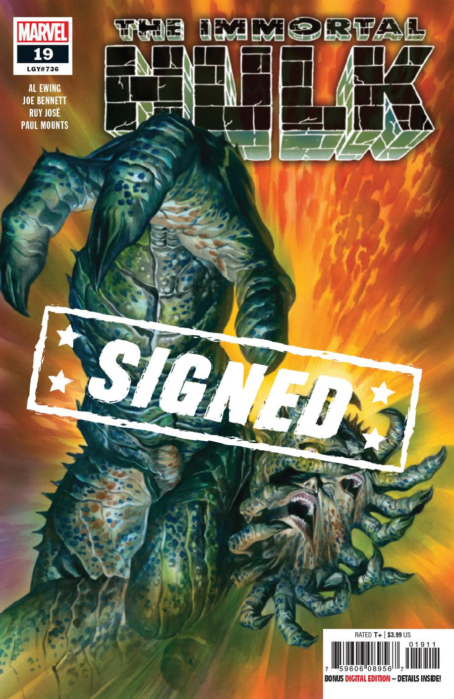 Immortal Hulk #19 Cover D Regular Alex Ross Cover Signed By Al Ewing