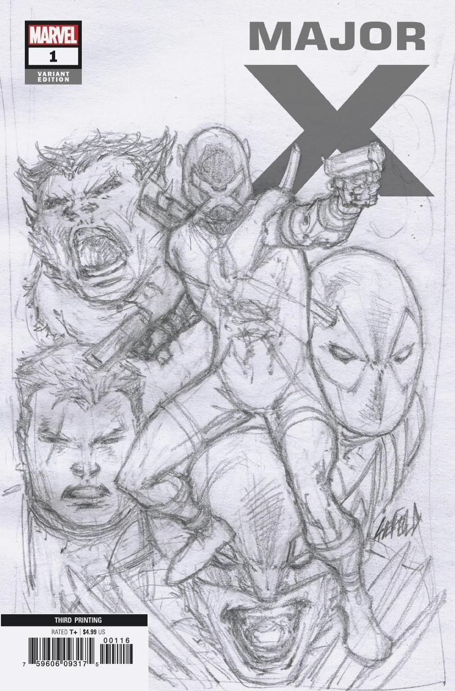 Major X #1 Cover F 3rd Ptg Incentive Rob Liefeld Sketch Cover