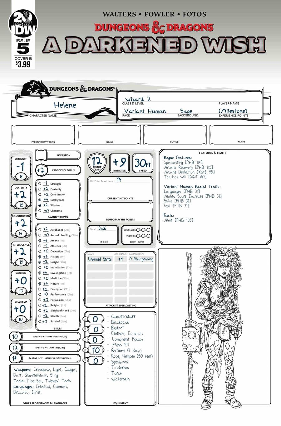 Dungeons & Dragons A Darkened Wish #5 Cover B Variant Character Sheet Cover