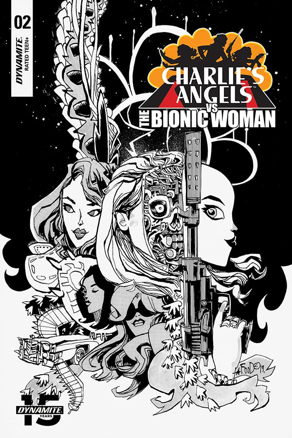 Charlies Angels vs The Bionic Woman #2 Cover C Incentive Jim Mahfood Black & White Cover