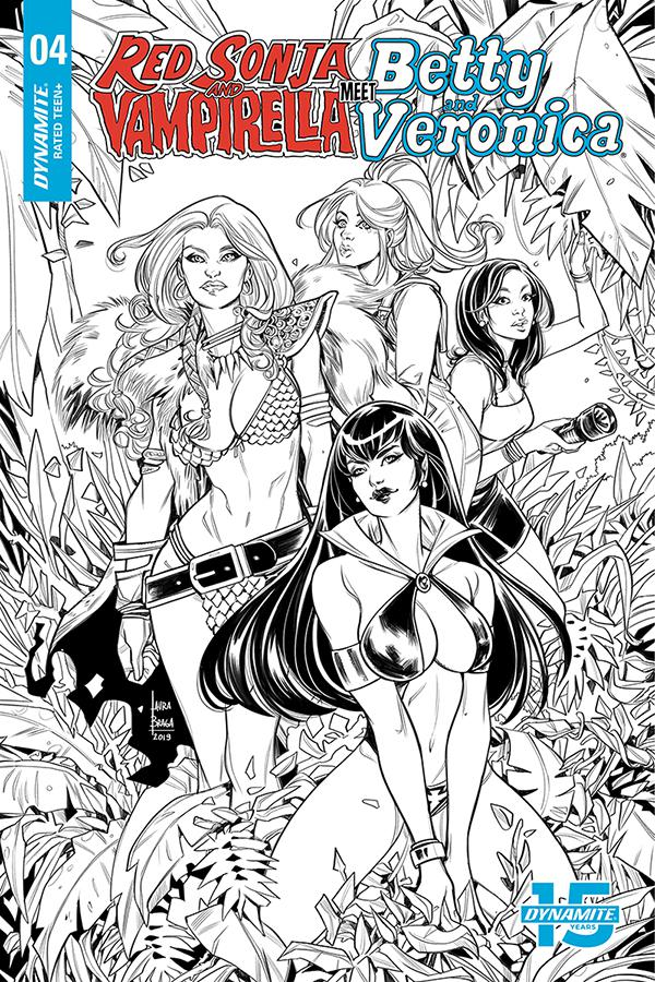 Red Sonja And Vampirella Meet Betty And Veronica #4 Cover H Incentive Laura Braga Black & White Cover