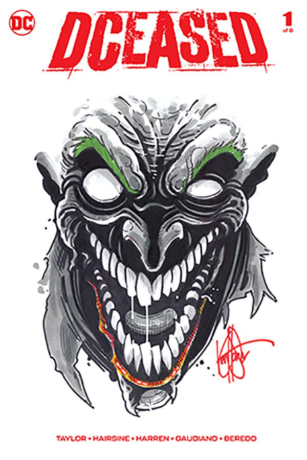 DCeased #1 Cover J DF Signed & Remarked With A Joker Hand-Drawn Sketch By Ken Haeser