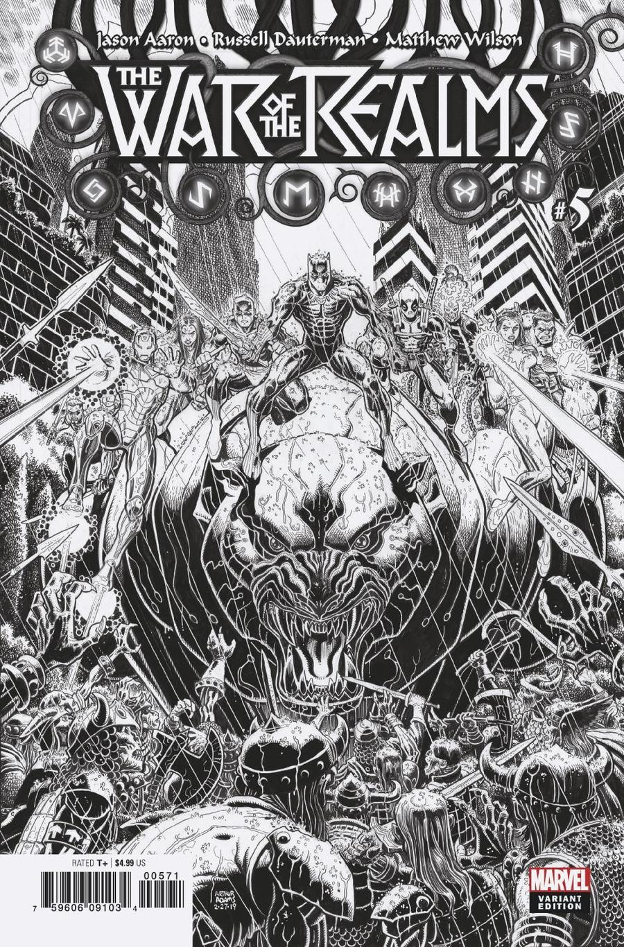 War Of The Realms #5 Cover G Incentive Arthur Adams Black & White Cover