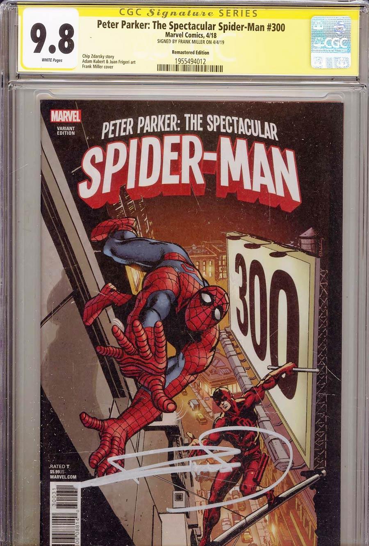 Peter Parker Spectacular Spider-Man #300 CGC SS 9.8 Signed Frank Miller Incentive Frank Miller Remastered Color Variant Cover (Marvel Legacy Tie-In)