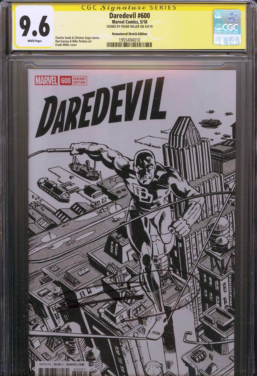 Daredevil Vol 5 #600 CGC SS 9.6 Signed By Frank Miller Incentive Frank Miller Remastered Sketch Variant Cover (Marvel Legacy Tie-In)