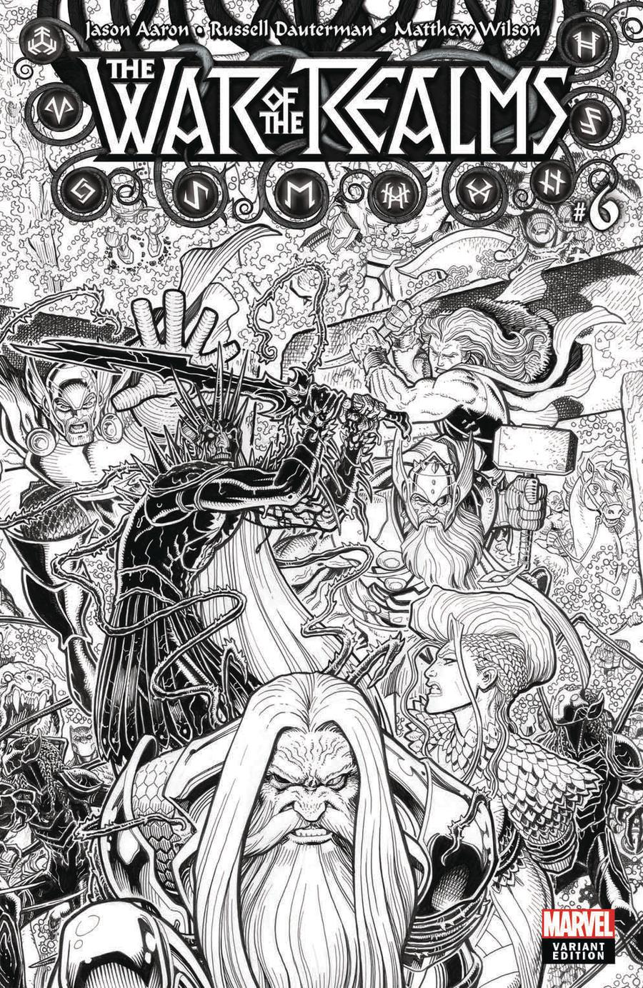 War Of The Realms #6 Cover H Incentive Arthur Adams Black & White Cover