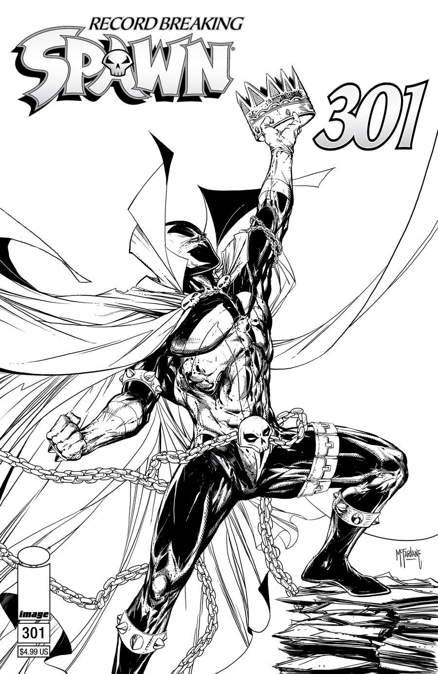 Spawn #301 Cover I Variant Todd McFarlane Black & White Edition