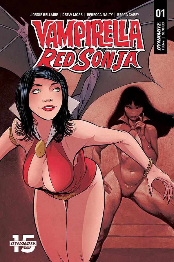 Vampirella Red Sonja #1 Cover E Variant Drew Moss Then And Now Cover