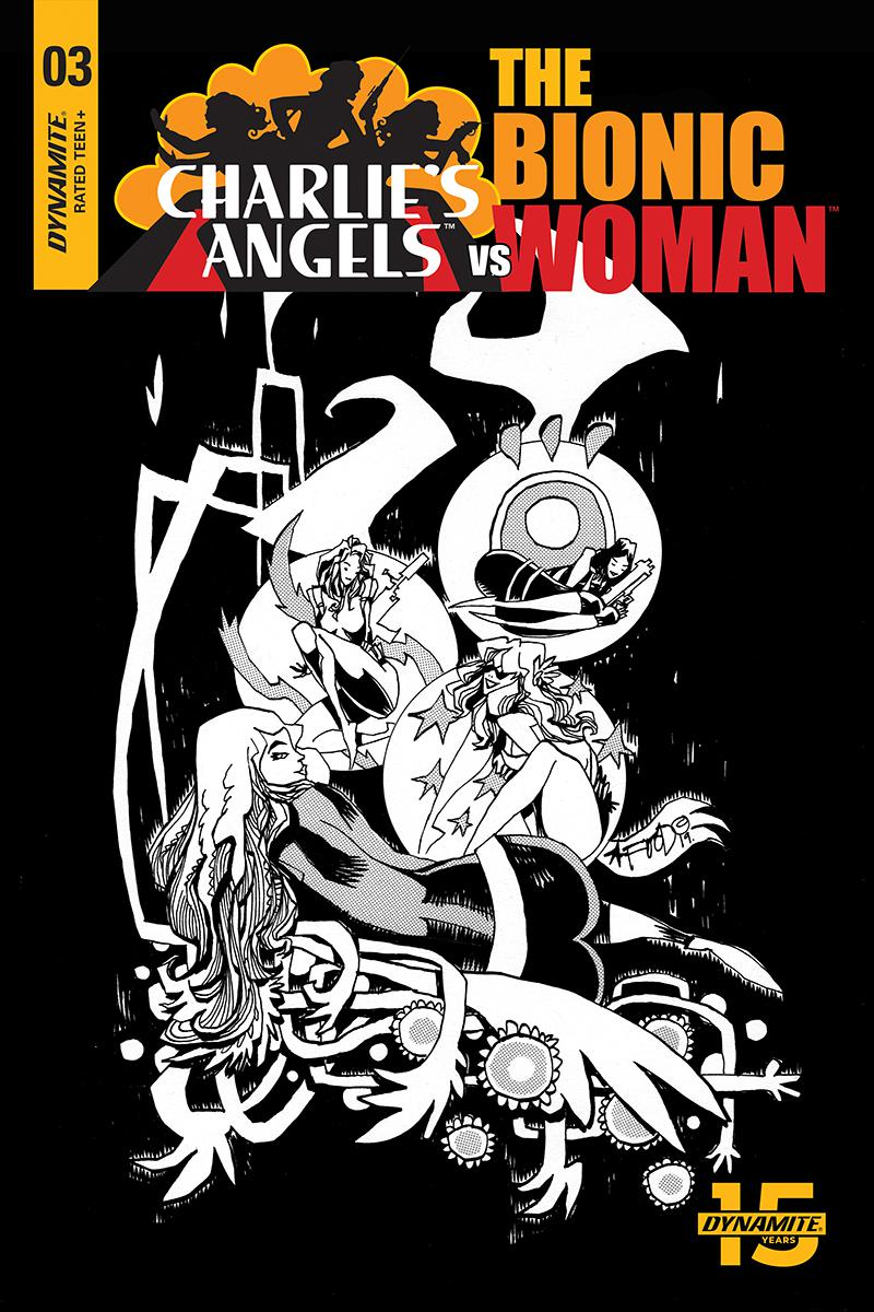 Charlies Angels vs The Bionic Woman #3 Cover C Incentive Jim Mahfood Black & White Cover