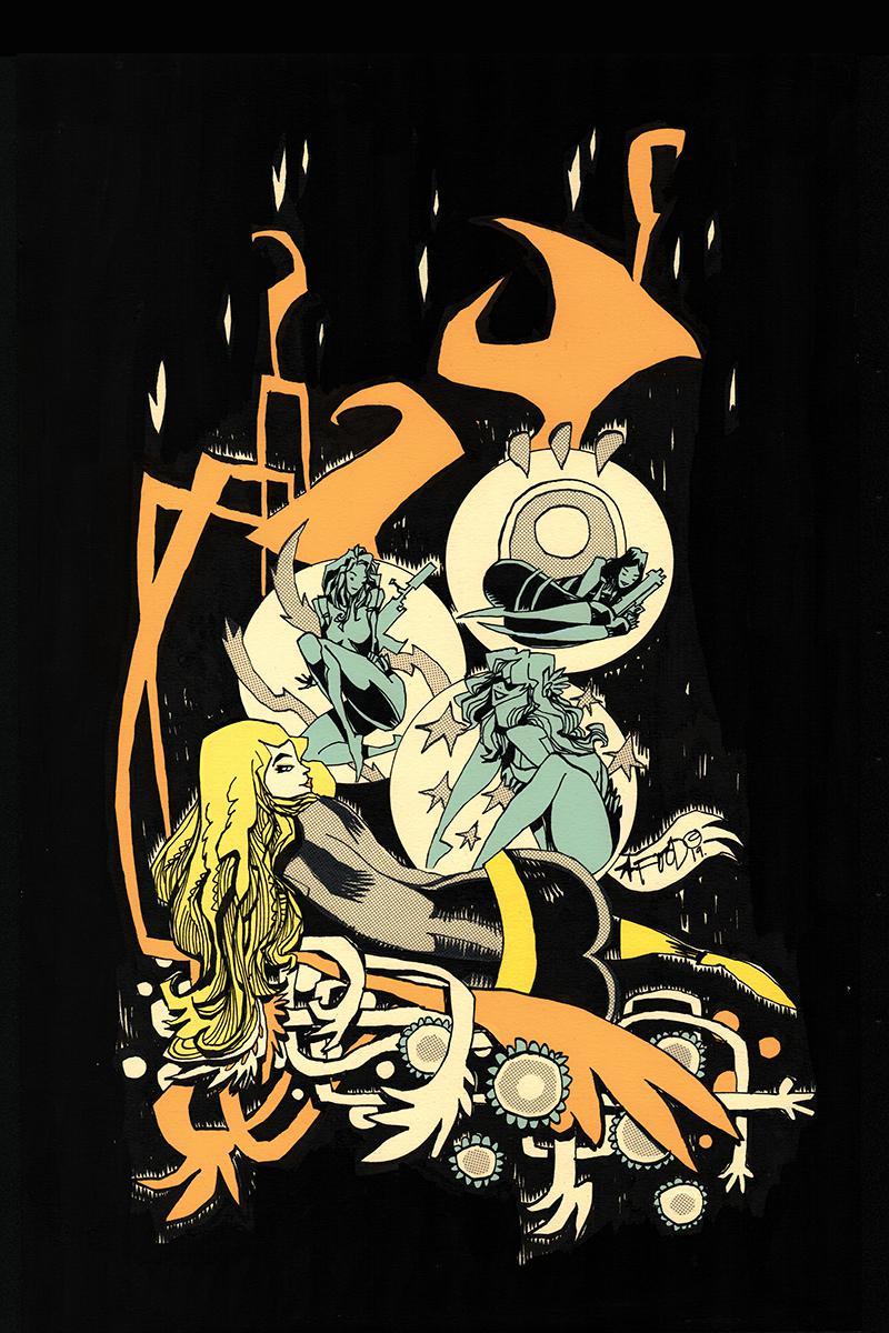 Charlies Angels vs The Bionic Woman #3 Cover E Incentive Jim Mahfood Virgin Cover