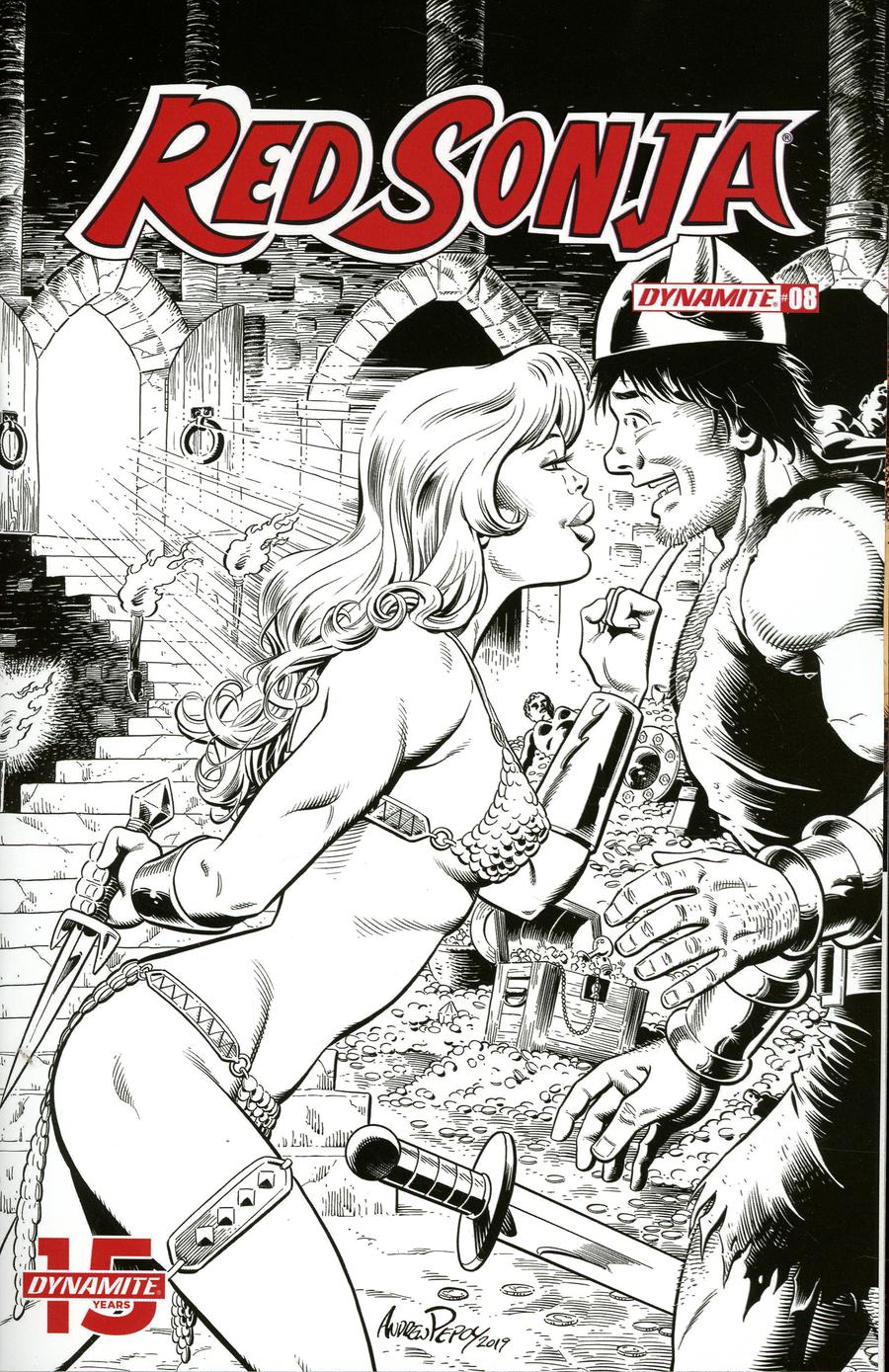 Red Sonja Vol 8 #8 Cover O Incentive Andrew Pepoy Seduction Black & White Cover