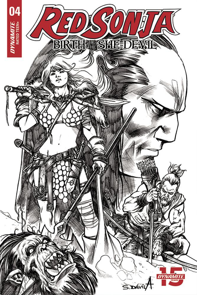 Red Sonja Birth Of The She-Devil #4 Cover F Incentive Sergio Davila Black & White Cover