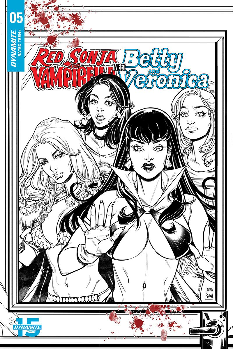 Red Sonja And Vampirella Meet Betty And Veronica #5 Cover H Incentive Laura Braga Black & White Cover