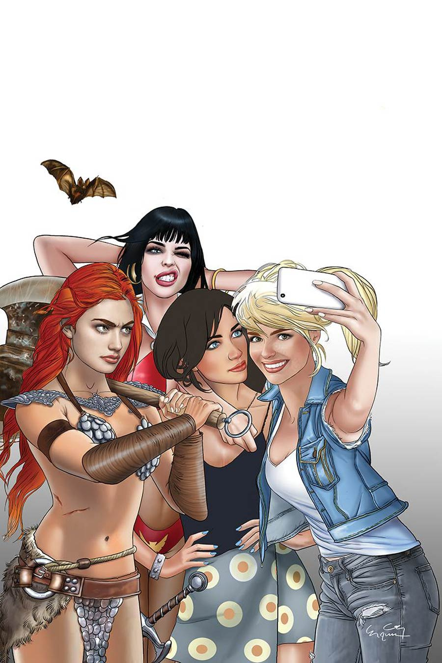Red Sonja And Vampirella Meet Betty And Veronica #1 Cover X Ultra-Limited Selfie Virgin Variant Cover