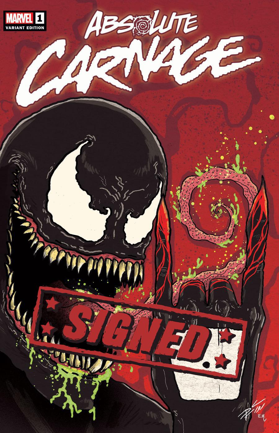Absolute Carnage #1  Midtown Exclusive Donny Cates Variant Cover Signed By Donny Cates & Ryan Stegman