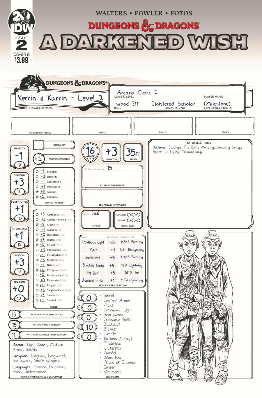 Dungeons & Dragons A Darkened Wish #2 Cover B Variant Character Sheet Cover