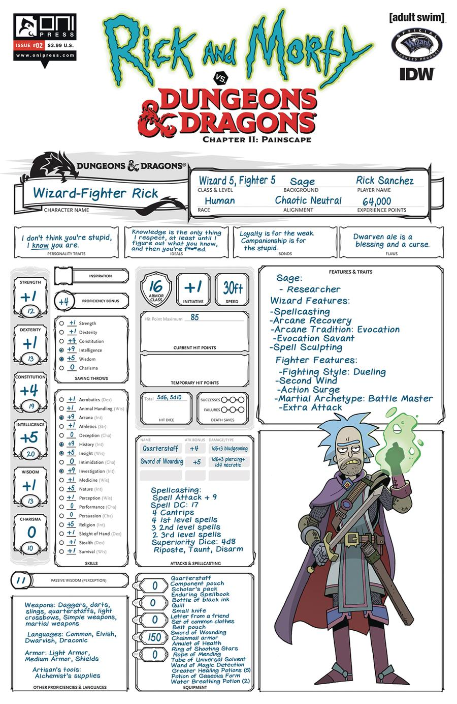 Rick And Morty vs Dungeons & Dragons Chapter II Painscape #2 Cover C Variant Character Sheet Cover