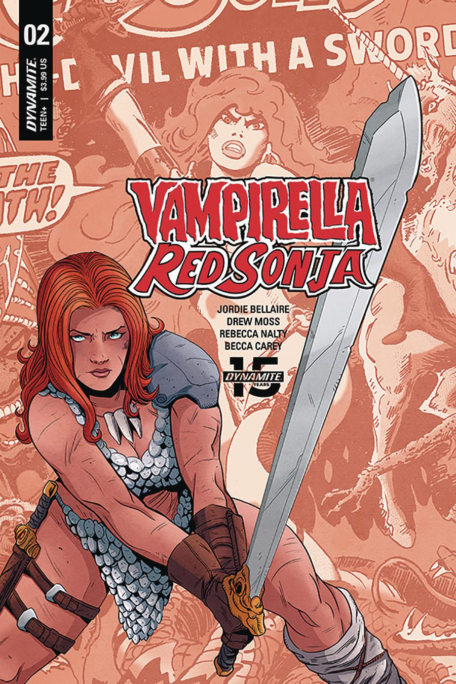 Vampirella Red Sonja #2 Cover E Variant Drew Moss Now And Then Cover