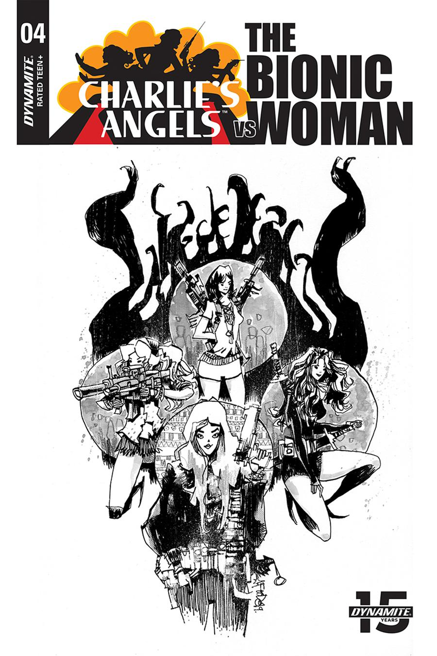 Charlies Angels vs The Bionic Woman #4 Cover C Incentive Jim Mahfood Black & White Cover