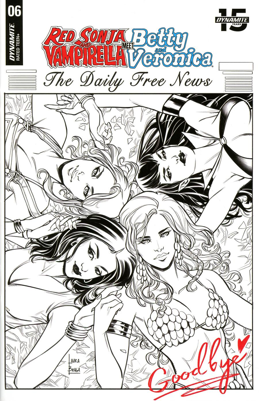 Red Sonja And Vampirella Meet Betty And Veronica #6 Cover J Incentive Laura Braga Black & White Cover