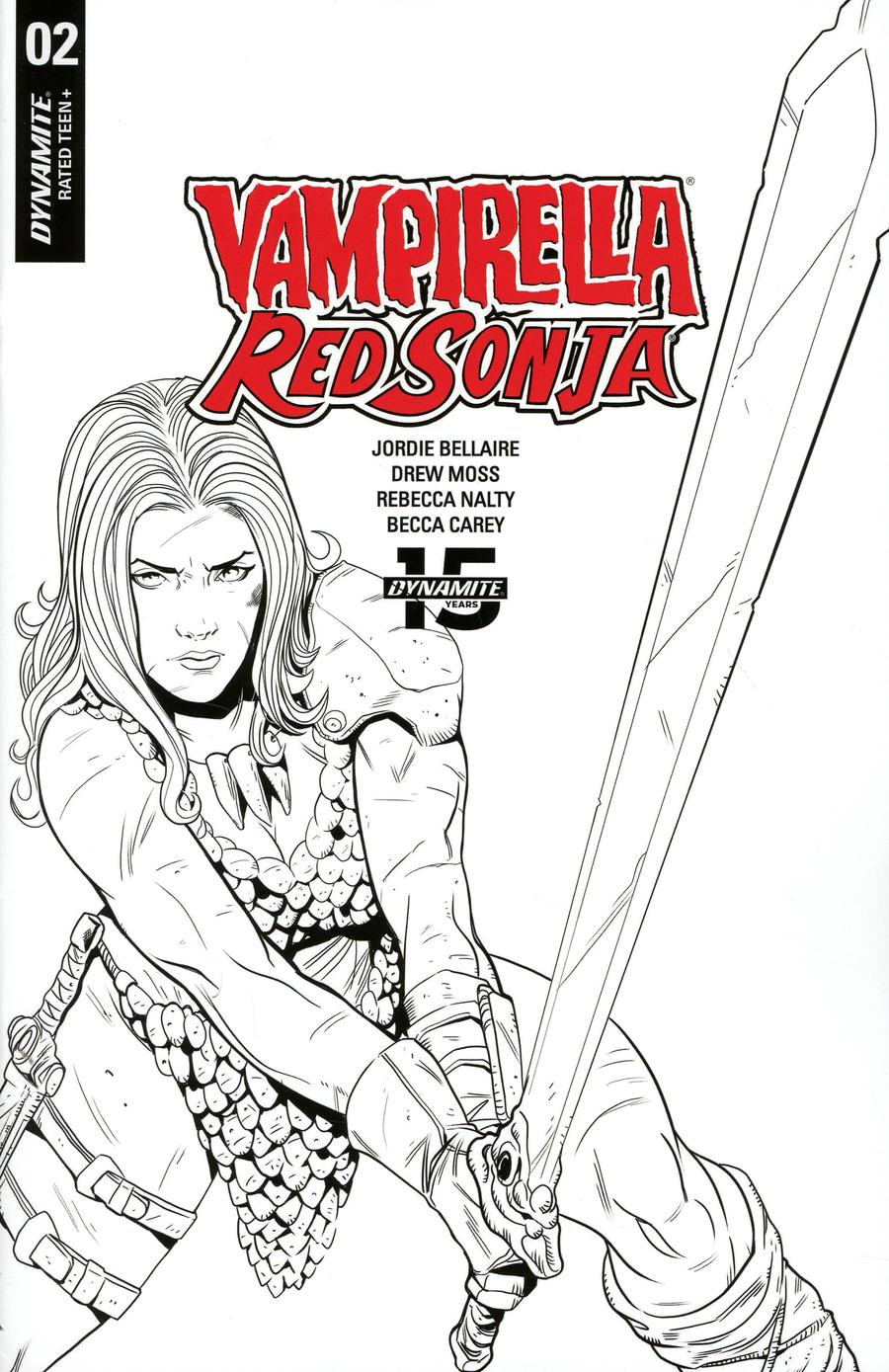 Vampirella Red Sonja #2 Cover F Incentive Drew Moss Now And Then Black & White Cover