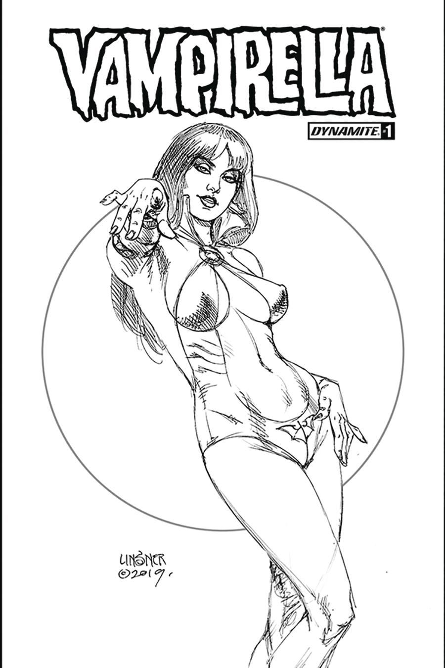 Vampirella Vol 8 #1 Cover Z-I Limited Edition Joseph Michael Linsner Exclusive Black & White Variant Cover