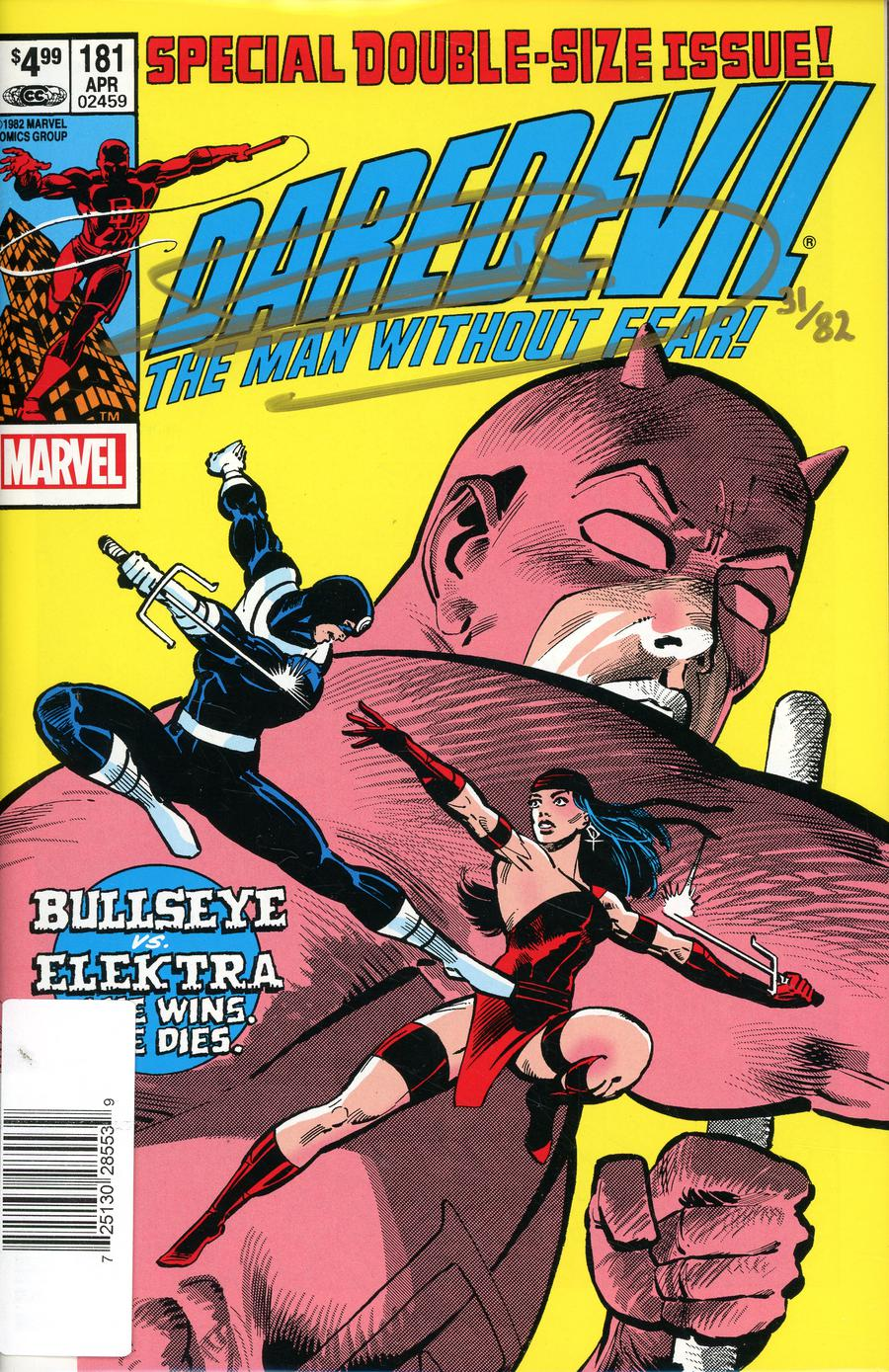 Daredevil #181 Cover C Facsimile Edition DF Signed By Frank Miller
