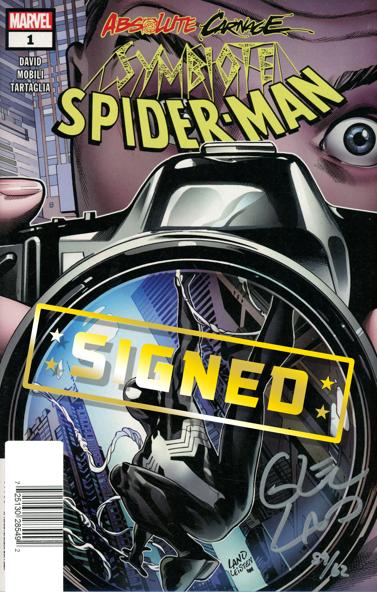 Absolute Carnage Symbiote Spider-Man #1 Cover E DF Ultra-Limited Symbiote Silver Webbing Edition Signed By Greg Land