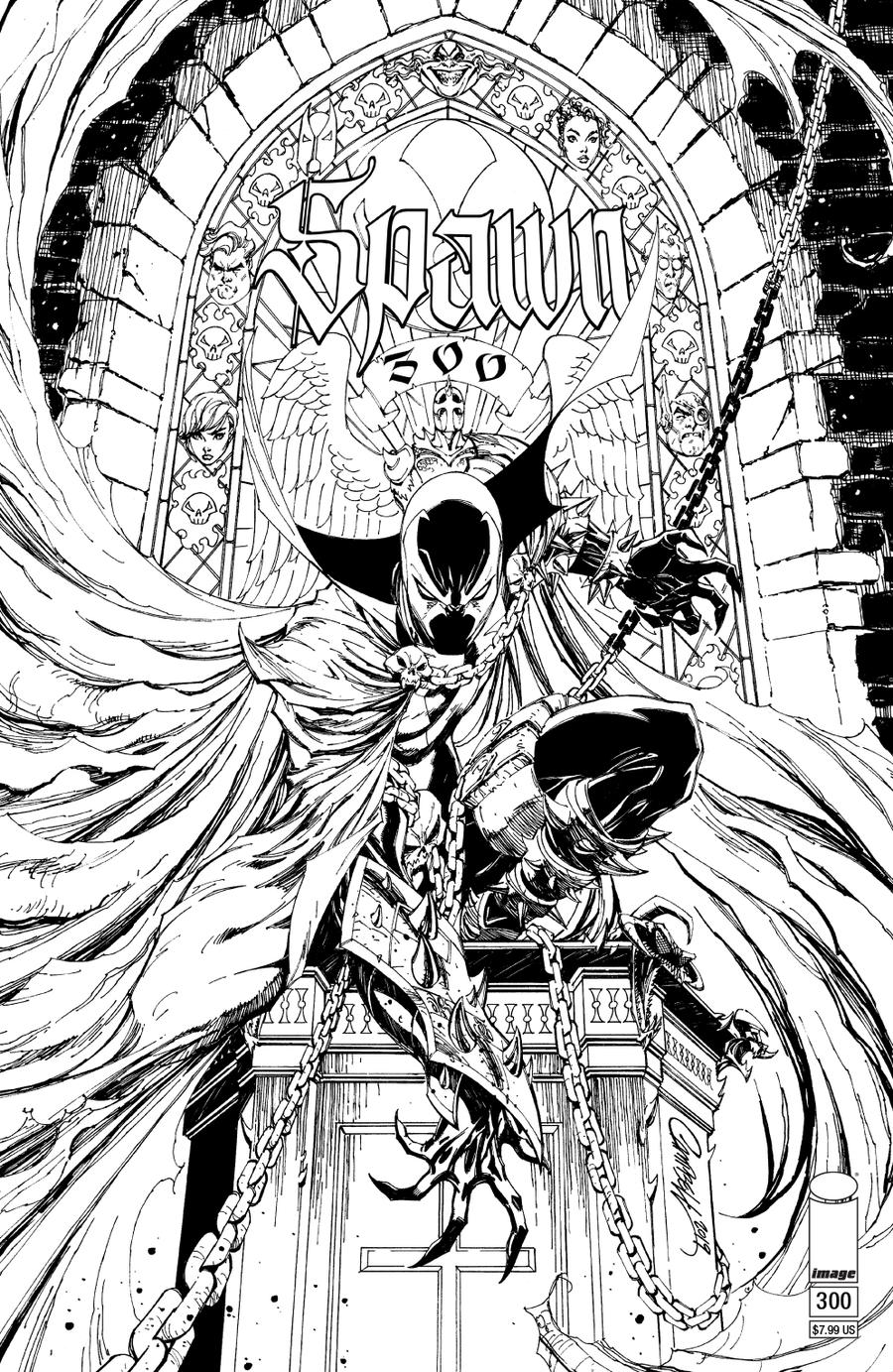 Spawn #300 Cover N Variant J Scott Campbell Black & White Cover