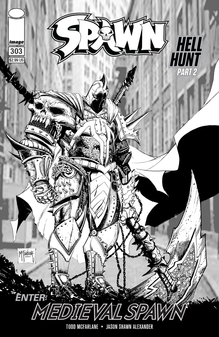 Spawn #303 Cover C Variant Todd McFarlane Black & White Edition