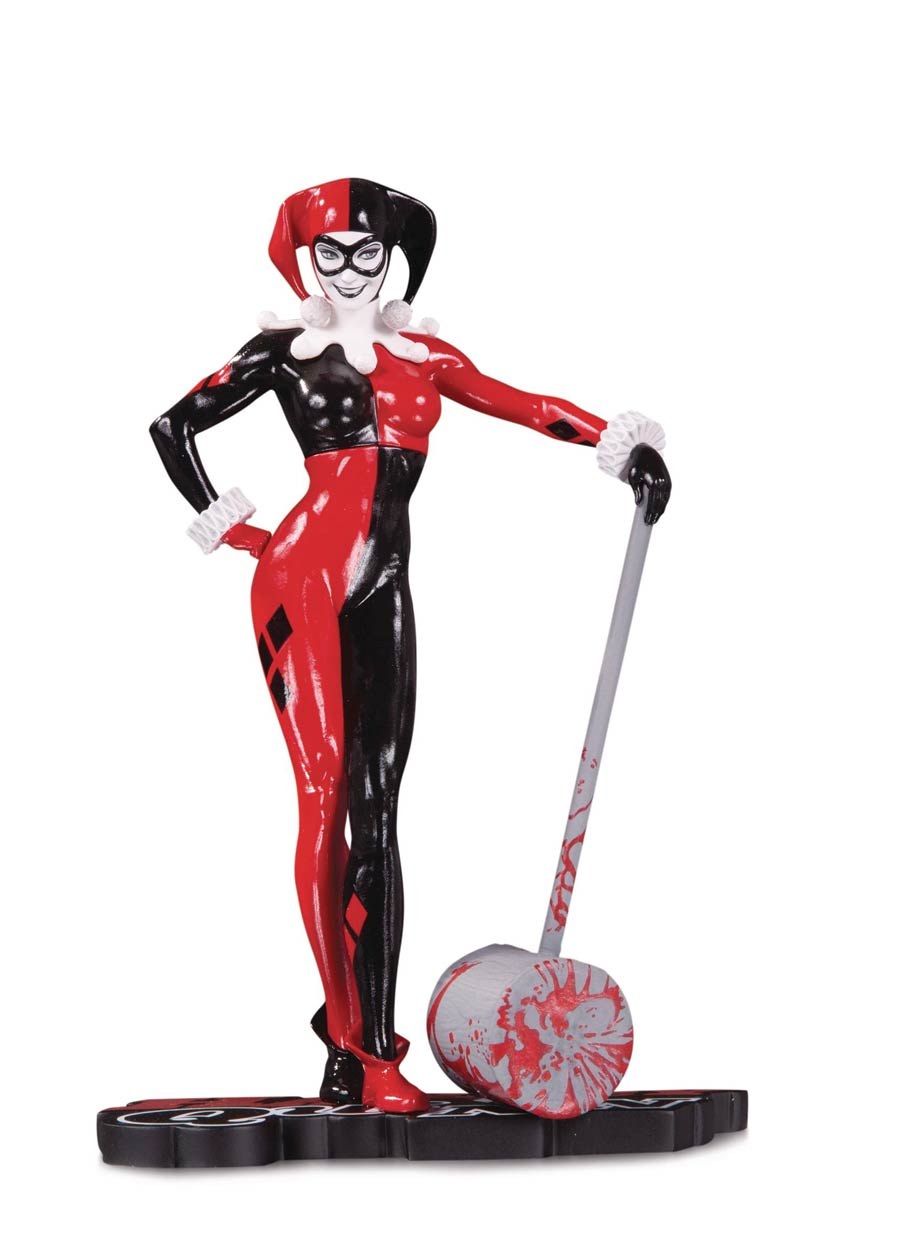 Harley Quinn Red White And Black Statue By Adam Hughes