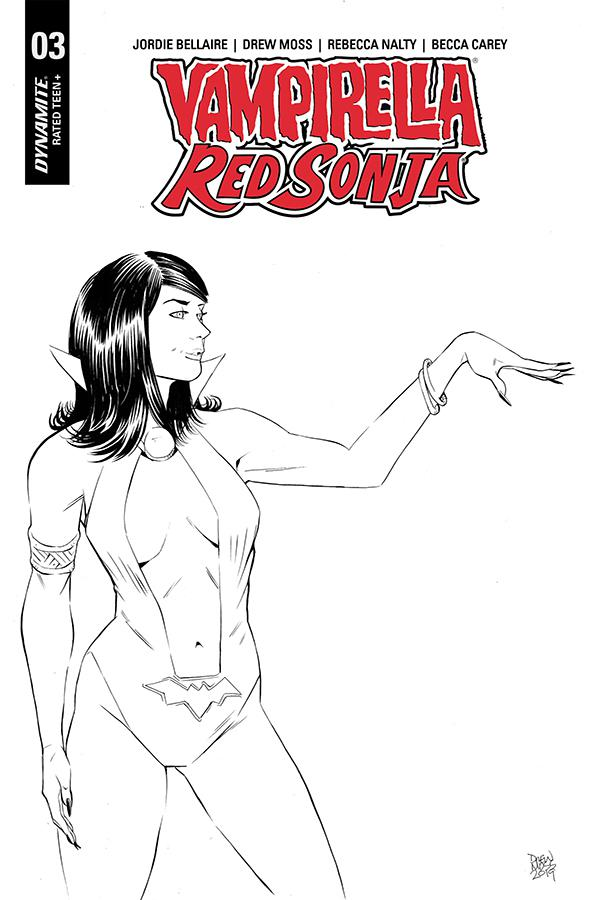 Vampirella Red Sonja #3 Cover H Incentive Drew Moss Then And Now Black & White Cover