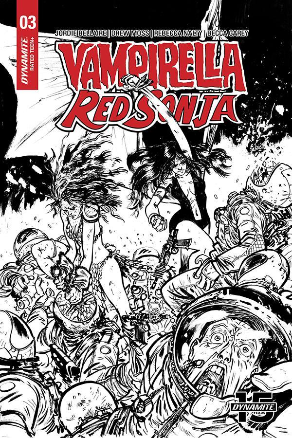 Vampirella Red Sonja #3 Cover P Incentive Daniel Warren Johnson Black & White Cover