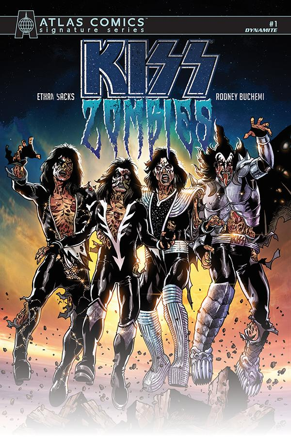 KISS Zombies #1 Cover T Variant Rodney Buchemi Cover Atlas Comics Signature Series Signed By Ethan Sacks