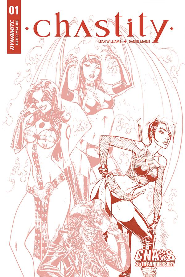 Chastity Vol 2 #1 Cover J Incentive J Scott Campbell Carve Out Partial Red Tint Dressed Variant Cover