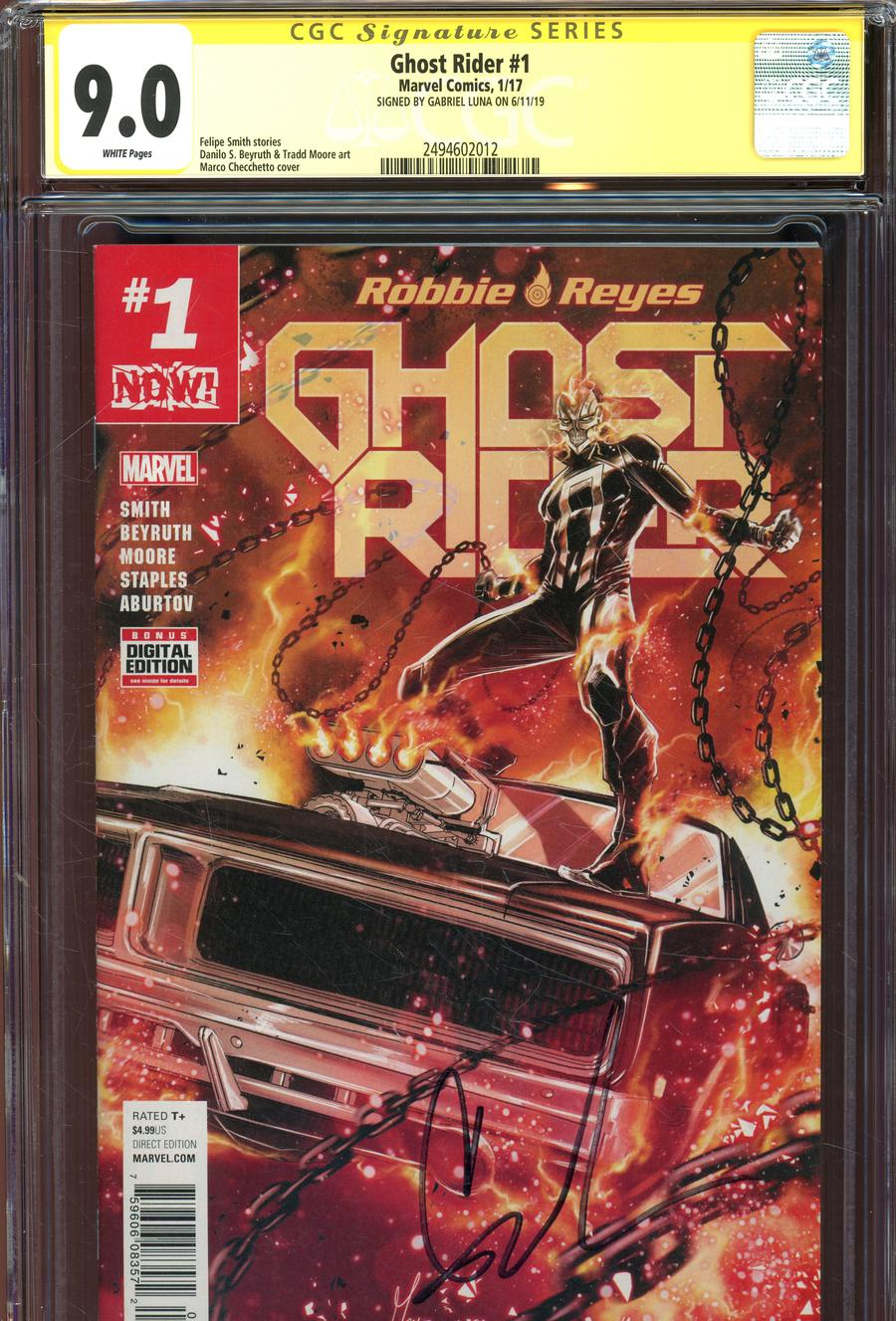Ghost Rider Vol 7 #1 Cover J Regular Marco Checchetto Cover Signed By Gabrielle Luna CGC 9.0