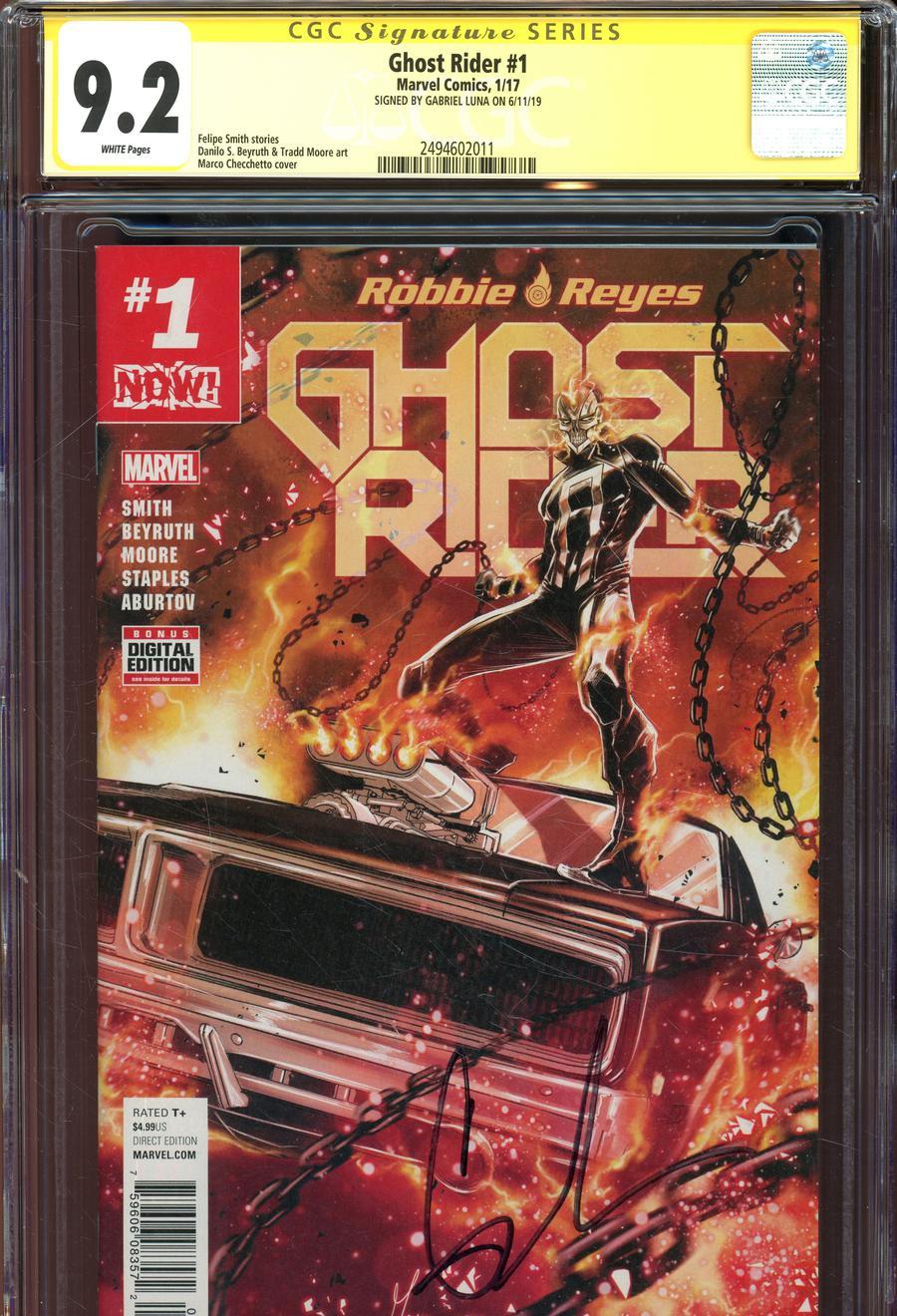 Ghost Rider Vol 7 #1 Cover K Regular Marco Checchetto Cover Signed By Gabrielle Luna CGC 9.2