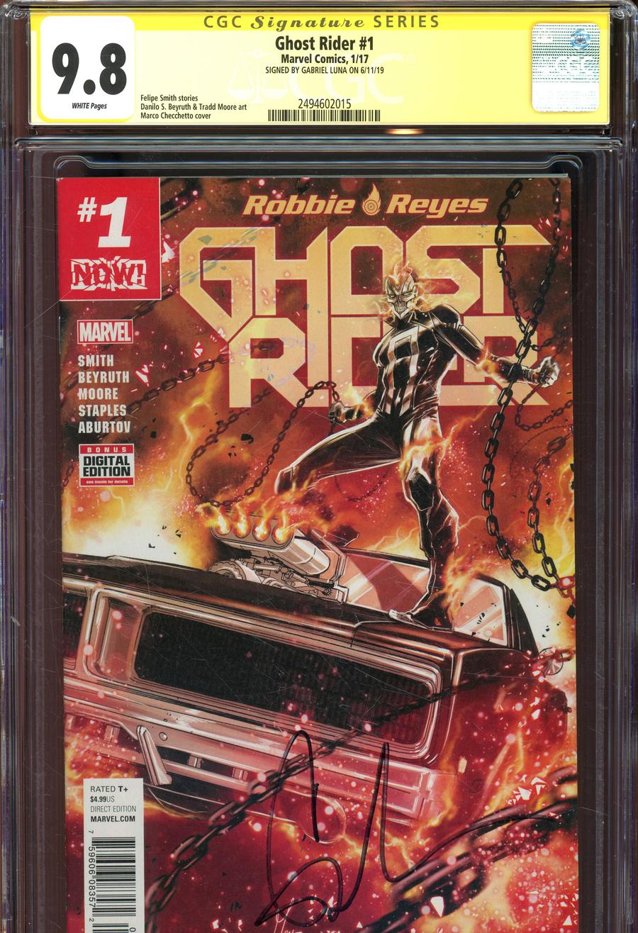 Ghost Rider Vol 7 #1 Cover N Regular Marco Checchetto Cover Signed By Gabrielle Luna CGC 9.8