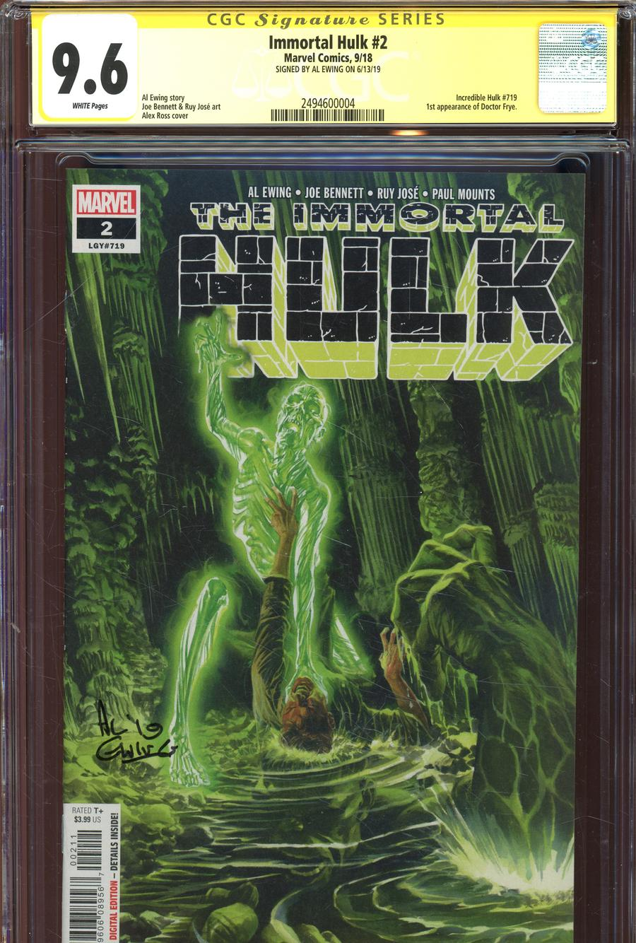 Immortal Hulk #2 Cover H Regular Alex Ross Cover Signed By Al Ewing CGC 9.6