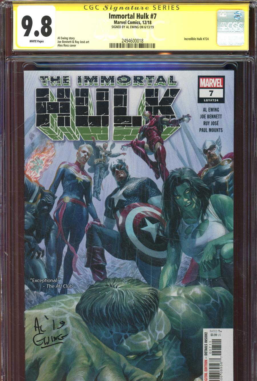 Immortal Hulk #7 Cover H Regular Alex Ross Cover Signed By Al Ewing CGC 9.8