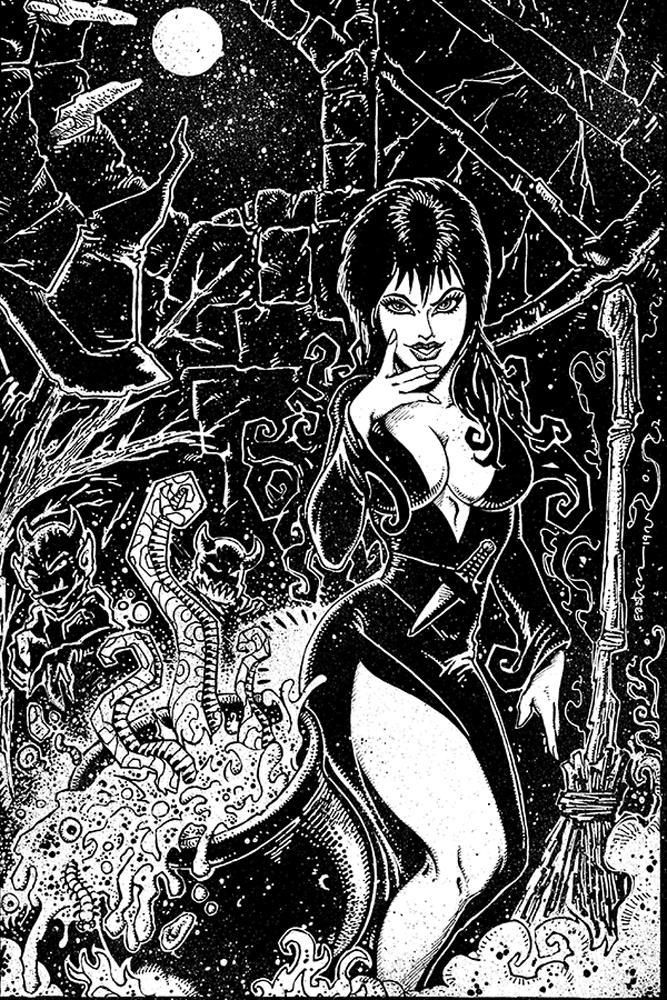 Elvira Mistress Of The Dark Vol 2 #9 Cover J Incentive Kevin Eastman Black & White Virgin Cover