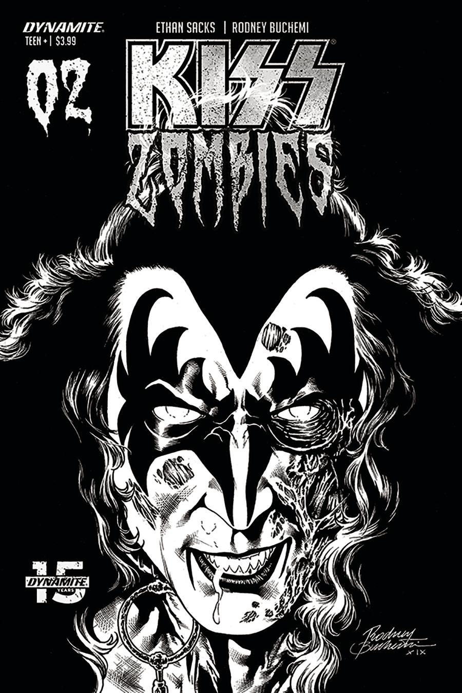 KISS Zombies #2 Cover L Incentive Rodney Buchemi Black & White Cover