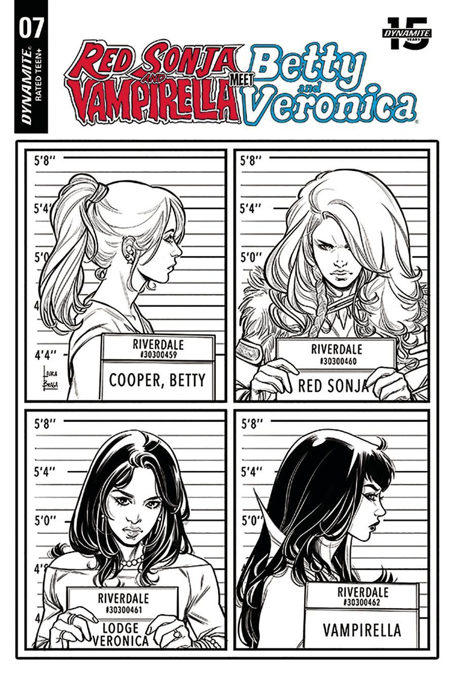 Red Sonja And Vampirella Meet Betty And Veronica #7 Cover K Incentive Laura Braga Black & White Cover