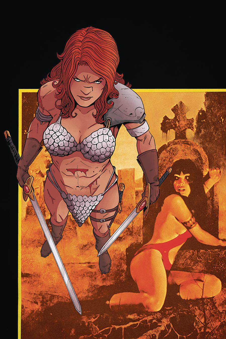 Vampirella Red Sonja #4 Cover M Incentive Drew Moss Then And Now Virgin Cover