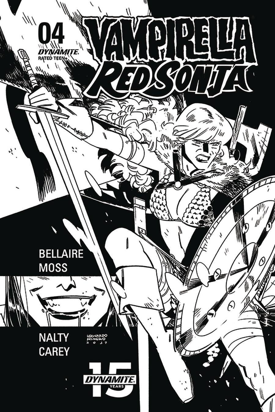 Vampirella Red Sonja #4 Cover N Incentive Leonardo Romero & Jordie Bellaire Black & White Cover