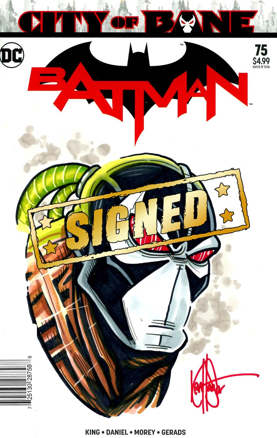 Batman Vol 3 #75 Cover H DF Signed & Remarked With A Bane Sketch By Ken Haeser
