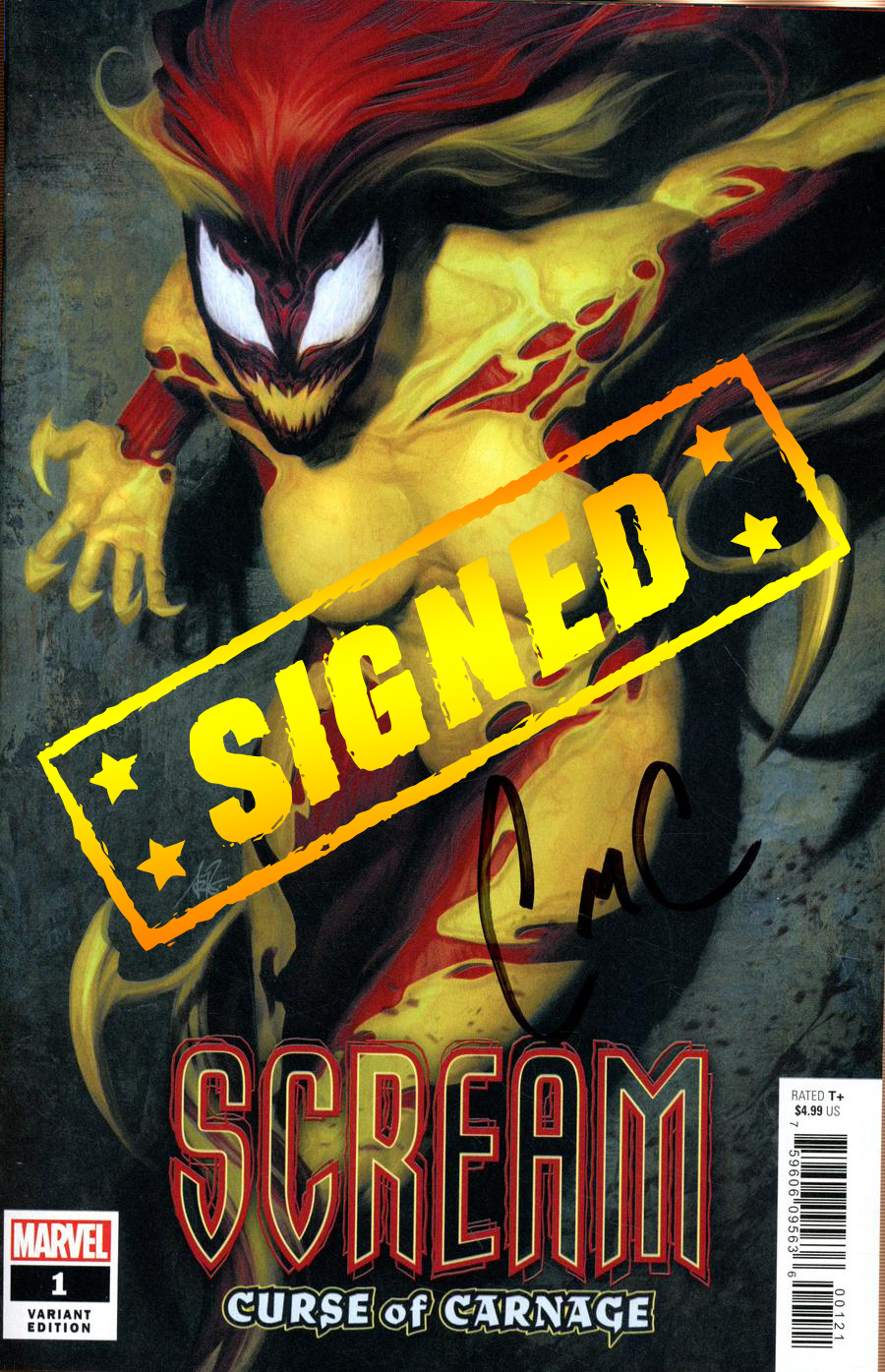 Scream Curse Of Carnage #1 Cover H Variant Stanley Artgerm Lau Cover Signed By Clay McLeod Chapman (Absolute Carnage Tie-In)