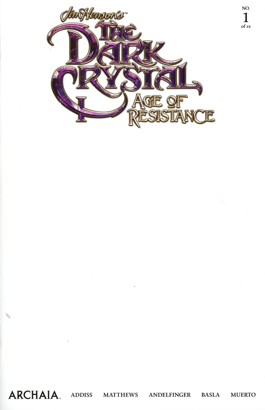 Jim Hensons Dark Crystal Age Of Resistance #1 Cover F Variant Blank Cover