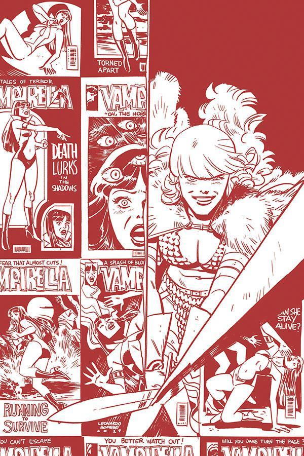Vampirella Red Sonja #2 Cover G Incentive Leonardo Romero & Jordie Bellaire Black & White Tint Virgin Cover